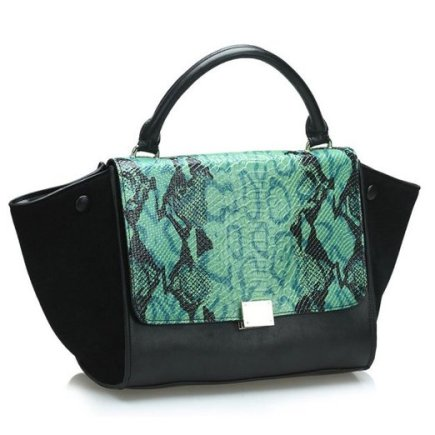 fineplus-womens-100-genuine-leather-europe-embossed-snake-bats-phantom-handbag-leather-bag-green-and-black_26703531