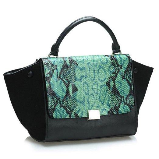 fineplus-womens-100-genuine-leather-europe-embossed-snake-bats-phantom-handbag-leather-bag-green-and-black_26703531